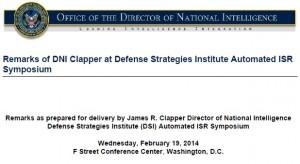 DNI Clapper Remarks